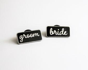 "Bride Groom Black Silver or Rose Gold 1"" hard enamel lapel pin // bridal party wedding gift"