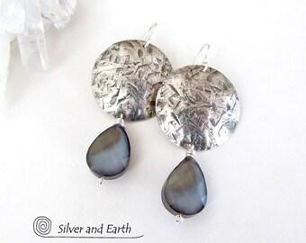 Modern Sterling Silver Earrings, Faceted Crystal Glass Earrings, Handmade Sterling Jewelry, Teardrop Dangle, Round Silver Earrings