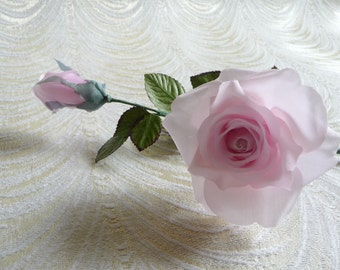 SALE Vintage Millinery Rose Pale Pink Crepe Long Stem with Bud and Leaves NOS for Hats, Crafts, Corsage 3FV0094P
