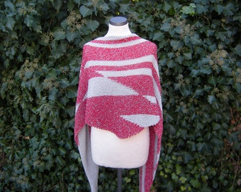 Triangle Shawl, hand knit, cloth, triangle cloth, graphic, red, nature