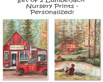 Woodland Log Cabin Nursery Art, Lumberjack Nursery Buffalo Plaid Wall Decor, Personalized Set Of 2, Boy Fishing With Dog, Vintage Red Truck