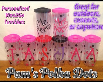 9 Personalized VINO 2 GO Wine To Go Acrylic Tumblers Sippy Cup Name Initial Monogram Polka Dots picnics tailgates weddings with Discount