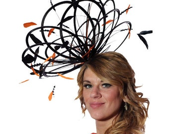 Black and Orange Large Feather Fascinator Hat - Perfect for a Mother of The Bride, ladies day - choose any colour feathers and satin