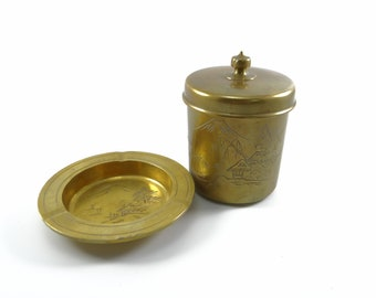 Brass Ashtray & Container Mountain Scene
