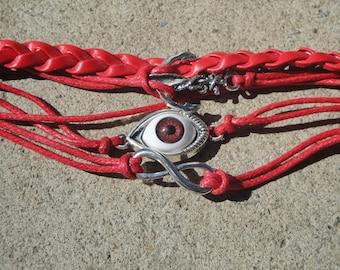 Red Evil Eye Bracelet with Anchor and Eternity Symbol Charms, Red Eye Evil Bracelet