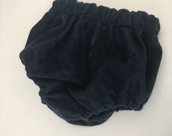 Handmade, baby girl, baby boy, vintage style, faux suede, navy blue suedette, bloomers, nappy cover, diaper cover, blue