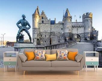 Self Adhesive Wallpaper, Wall Mural Castle, Wallpaper Castle, Castle Wall Decal, 3D Wall Covering, Wall Art, Wall Decor, Peel And Stick