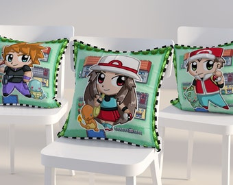 Fire red Leaf green character cushion pillow