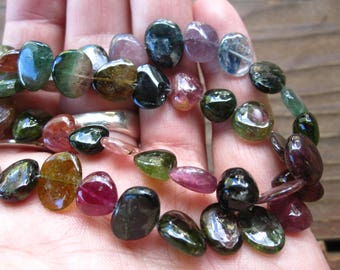 Watermelon Tourmaline Beads large smooth polished nuggets 12mm X 9mm