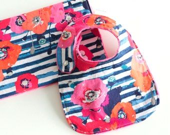 Baby Girl Gift Set Bib and Burp Cloth Skopelos Paparounes Crimson
