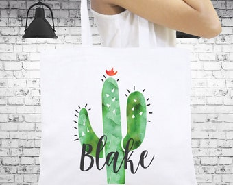Personalized Tote Bag, Beach Tote, Cactus Tote Bag, Monogrammed Tote Bag, Personalized Gift, Bridesmaid Tote Bag, Bridal Gift, Birthday Gift