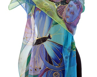 Hand painted silk scarf/Painting by hand blue butterflies/Blue silk chiffon scarf/Painting by hand scarf/Painting luxury scarf/S0035
