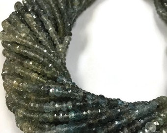 "Moss Aquamarine Faceted Rondelles, 4mm size, 14"" Strand, Super Fine Quality"