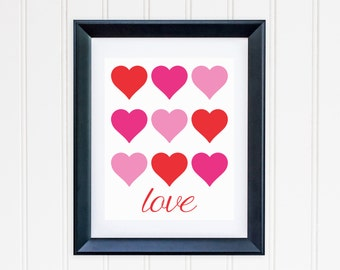 Heart Love Collage Printable - Pink and Red - Valentine's Day - Instant Download - Home Decor - High Resolution JPEG & PDF - Hearts