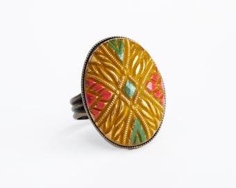 Yellow Art Deco Glass Ring Large Vintage Mustard Yellow Glass Cabochon Ring Adjustable Art Deco Mustard Yellow Jewelry