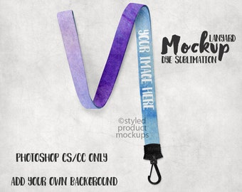 Dye sublimation lanyard mockup template | Add your own image and background