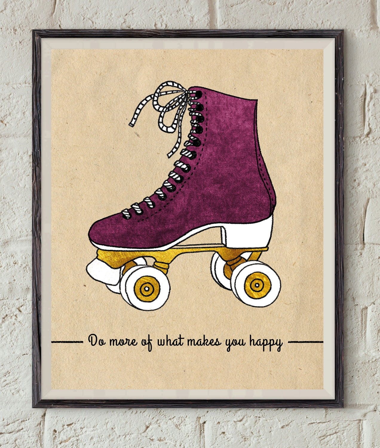 Quote Roller Happy Quote Art Vintage Roller Skate Retro Wall Art