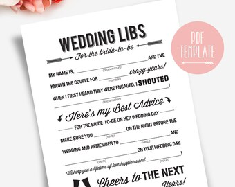 Wedding Shower Mad Libs, Bridal Shower Mad Libs, Bridal Shower Games, Mad Libs Bridal Shower, Bliss Paper Boutique #BPB41