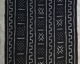 Genuine Vintage Black and White Mudcloth Fabric Medium size X2