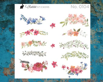 Watercolor Floral Swags - 0104, Planner Stickers, Bullet journal stickers, bujo, flower stickers, Day designer, Happy Planner, Erin Condren