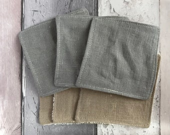 BULK BUY - Cleansing Pads - 10cm x 10cm - Make-up Remover Pads - Linen + Organic Cotton Terry Towelling - Linen + Organic Flannel - Washable