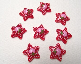 10 cabochons resin star 18 x 18 mm.