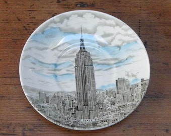 EMPIRE STATE BUILDING Saucer, Johnson Bros, Made in England, Vintage Travel Souvenir