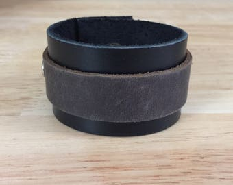 Black and brown leather cuff bracelet