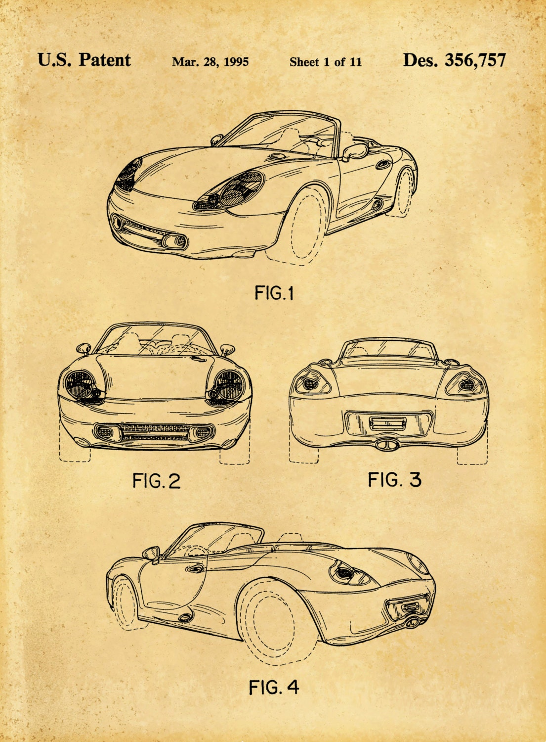 Patent 1995 Porsche 986 Boxster or Cayman - Sports Car - Poster ...