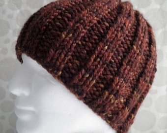 KNITTING PATTERN/RUSTICO Mans Knit Beanie Chunky Ribbed Woolen Beanie/ Easy/ Knit Round Quick Knit Extra Chunky Ribbed Hat Wool Hat Pattern