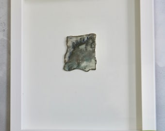 Small Handcrafted 'Landscape' framed Wall-Piece in Porcelain with relief tree detail, finished with real Platinum Lustre