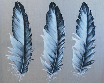 Table * feather *, (large) painting on canvas.
