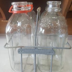 Antique 1/2 Gallon Milk Bottles, Marked Milk Bottles, Old Milk Bottles in Crate, Carrying Case, 4 Bottles with Carrier, Riverdale Dairy AT1
