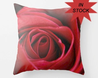 """Rose Cushion Cover, 18"""" Red Rose, Floral Photo Pillow Case, Romantic Bedroom Decor, Feminine, Unique Canadian Handmade Valentine's Day Gift"""
