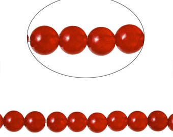 Set 90 Agate beads round 4mm - SC71585 red.