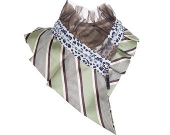 Collar necklace, unique accessory, zipper collar, silk collar, only one piece #173