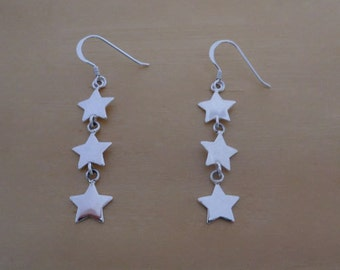 925 Sterling Silver Drop Dangle 3 Stars Earrings