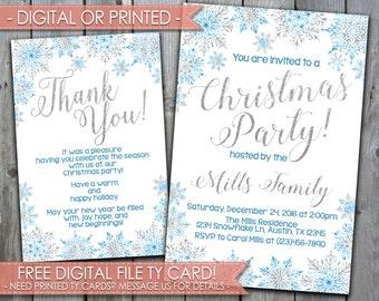 Snowflake Christmas Party Invitation, Winter Wonderland Christmas Party Invitation, Blue Silver Glitter White Christmas Party, #433