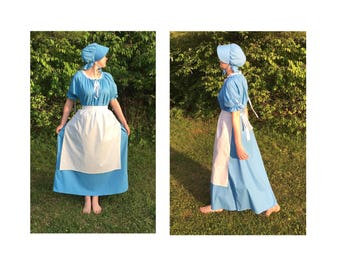 Complete Outfit - Size S Small Womens Pioneer Trek Colonial Frontier Prairie Pilgrims Renaissance Reenactment Civil War Dress Costume Adult