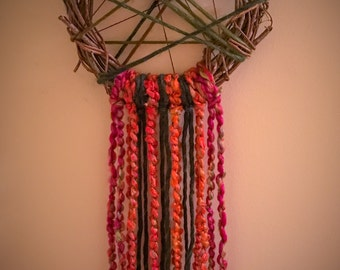 Colorful Unique Boho Wreath - Free domestic shipping on this piece!
