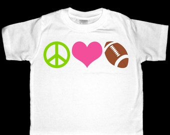 Peace, Love, Football Shirt or Bodysuit - Perfect for the football enthusiast