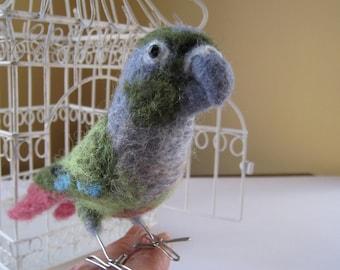 Herr Grün Wangen das Nadel gefilzt Faser-Vogel