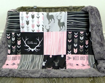 Deer Baby Blanket - Faux Patchwork Quilt - Little One Blanket - Baby Blanket - Baby Gift - Baby Blanket Girl - Baby Blankets - Wild and Free