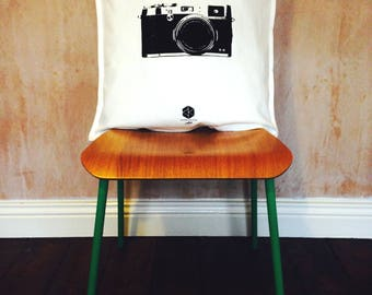 Hand Screen Printed Camera Cushion Cover