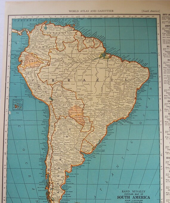 South america 1939 vintage atlas map venezuela old maps as gumiabroncs Gallery