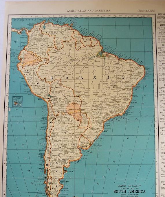 South america 1939 vintage atlas map venezuela old maps as gumiabroncs Choice Image