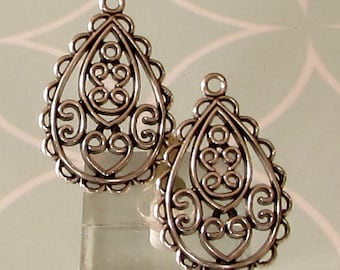 Filigree Teardrop Charm, Antique Silver, 2 Pieces, AS454