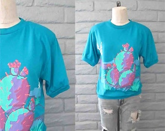 Vintage 1990's tshirt turquoise CALIFORNIA CACTUS shoulder pad short sleeve - M