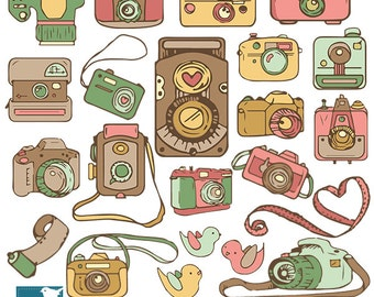 Cameras and Birds Clip Art, Hand Drawn Cameras Clipart, Vintage Colors, Photographer Logo, Vector EPS - INSTANT DOWNLOAD