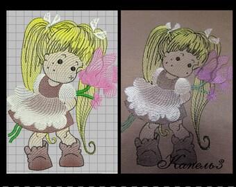 girl schoolgirl Embroidery Machine Patterns Design DIGITAL EMBROIDERY